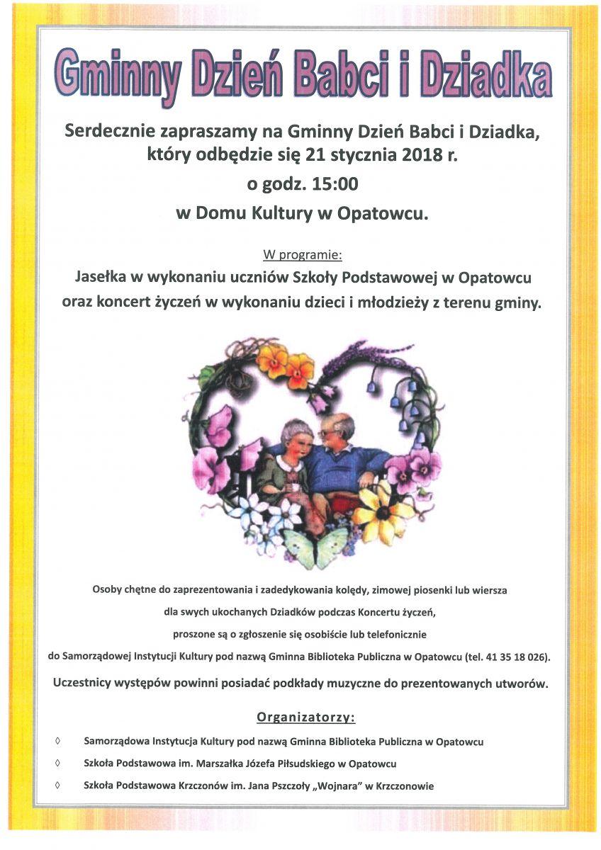Zaproszenie Na Dzień Babci I Dziadka Gminna Biblioteka
